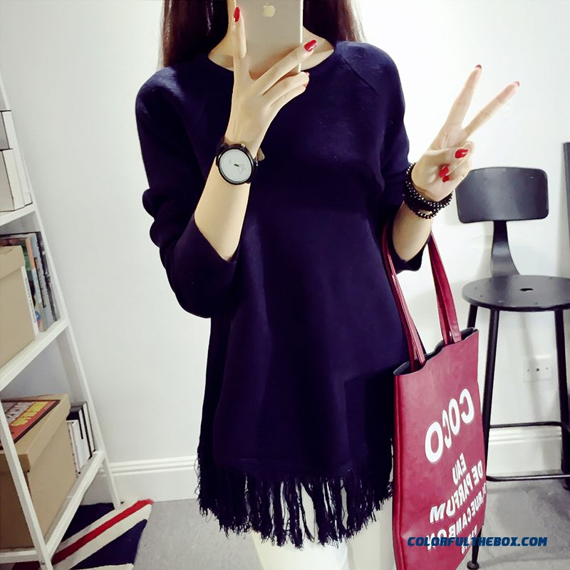 Women Clothing Sweater Pull Blouson Bottoming Shirt Fringes Round Neck Fashion