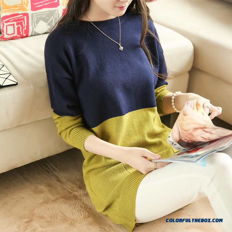 Women Clothing Sweater Pull Blouson Bottoming Shirt Round Neck Coats