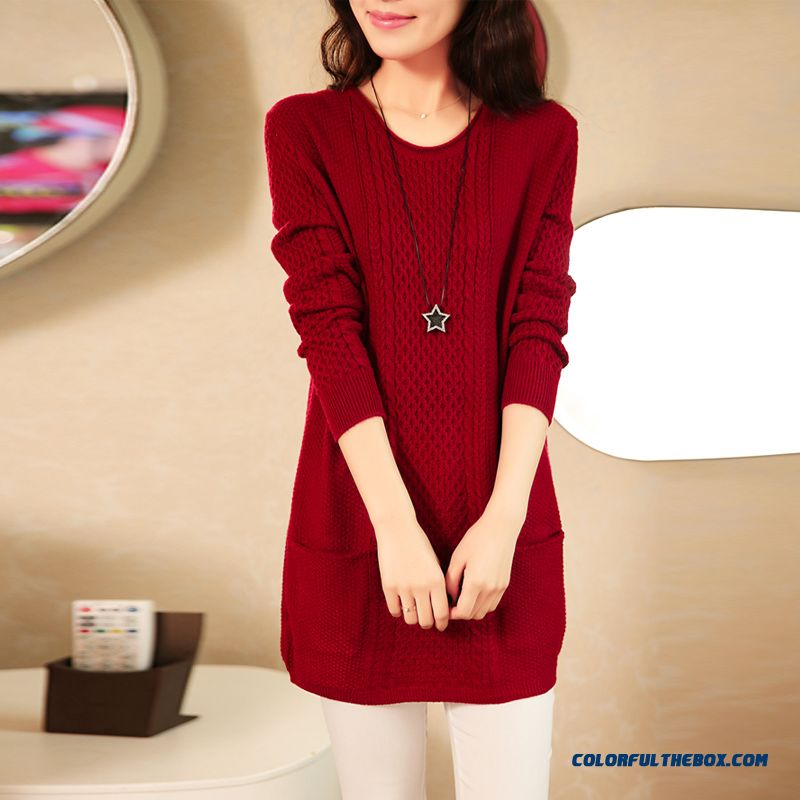Women Clothing Sweater Pull Blouson Bottoming Shirt Round Neck Red Yellow Khaki Black