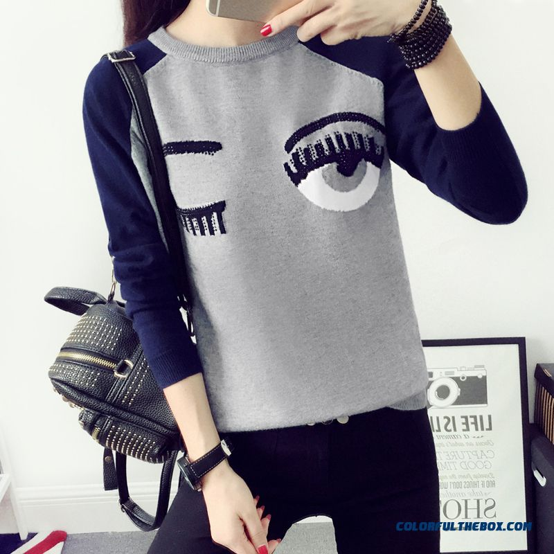 Women Clothing Sweater Pull Blouson Bottoming Shirt Slim Round Neck Loose Warm Winter