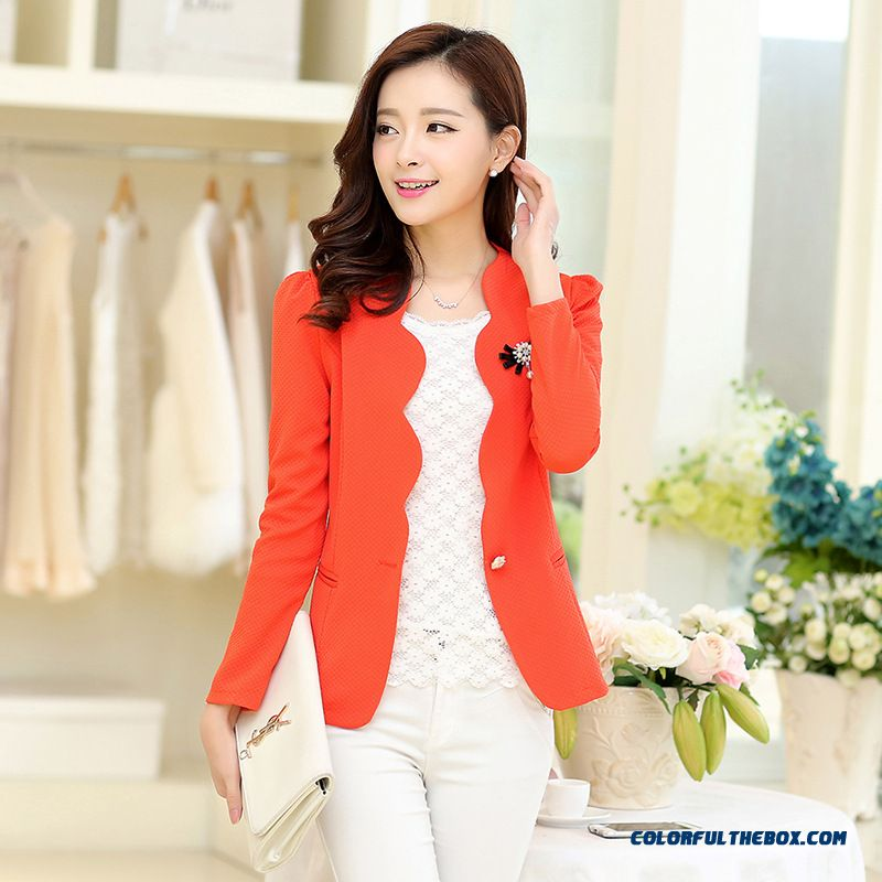 Women Coat Large Size Slim And Thin Long-sleeved Suit Ladies Wave Edge