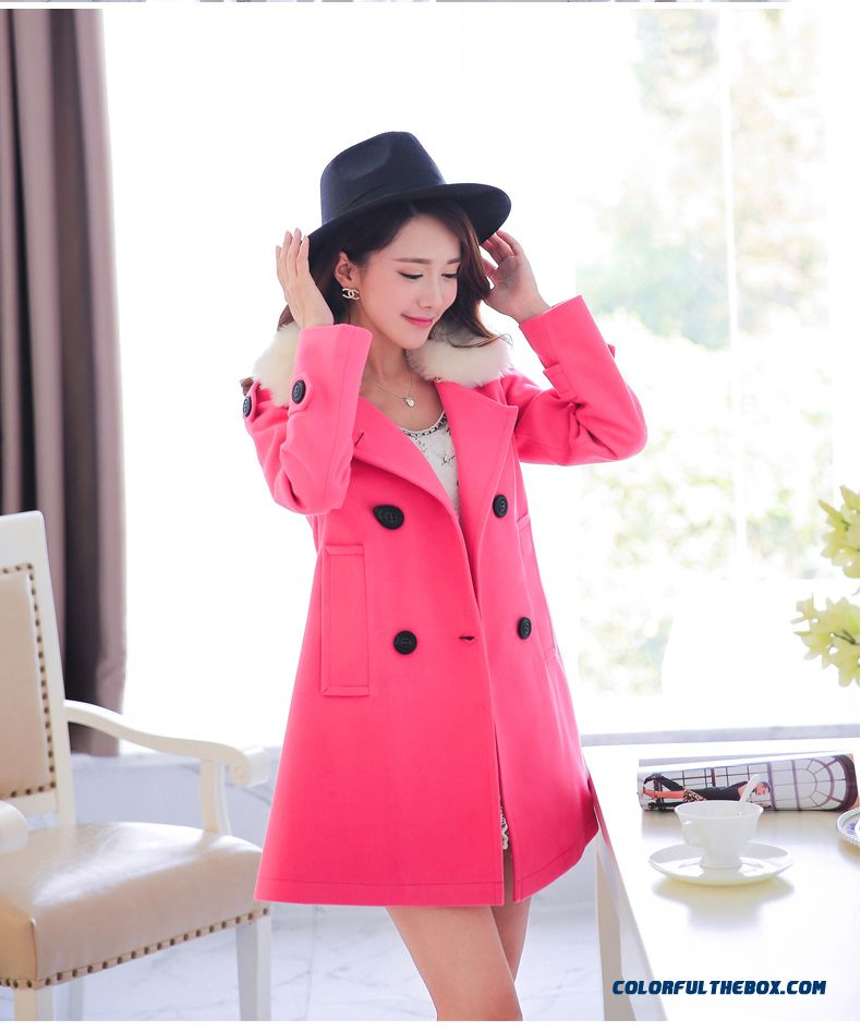 Women Double-breasted Cloak Medium-long Woolen Coat Navy Blue Rose Grees