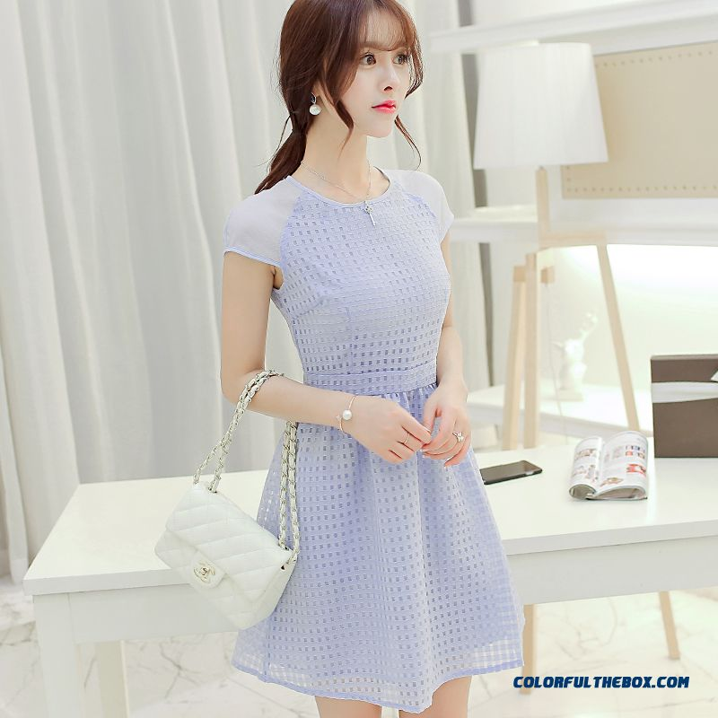 Women Dress High-waisted Ladies Short Sleeve Solid Color Slim Summer