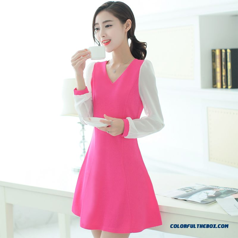 Women Dress Long Sleeve Large Size Chiffon Splicing Slim And Thin