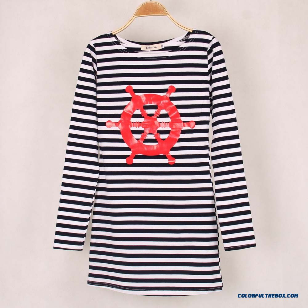 Women European And American Classic Stripes Helm Navy Shirt Long-sleeved T-shirt Sexy Package Hip Long - more images 1