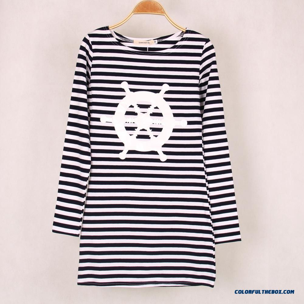 Women European And American Classic Stripes Helm Navy Shirt Long-sleeved T-shirt Sexy Package Hip Long - more images 3