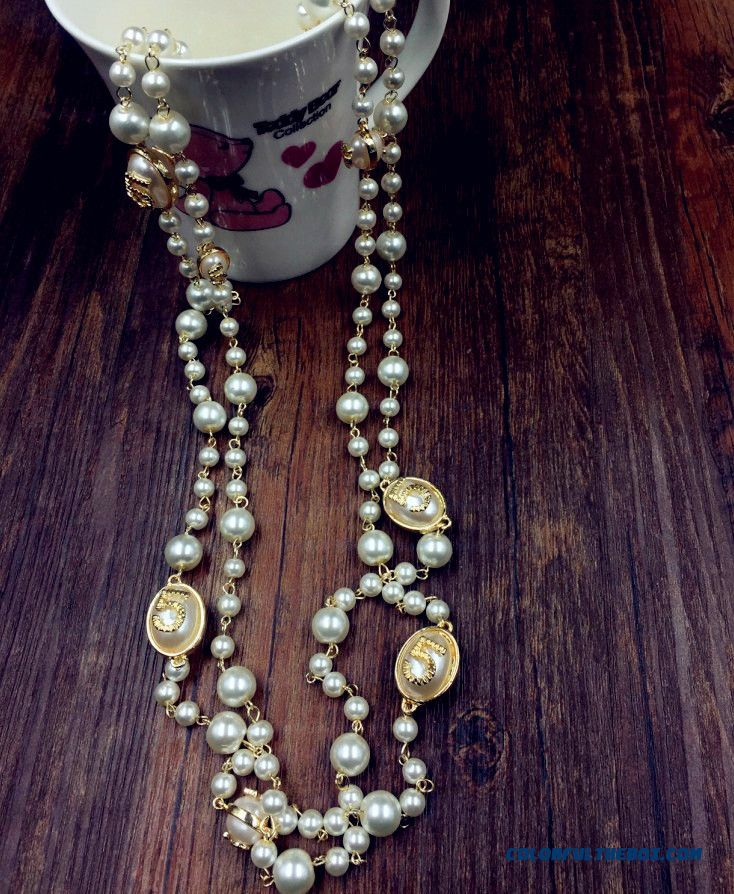 Women European And American Fine Jewelry New Winter Long Section Of The Letter Exaggerated Pearl Necklace - more images 2