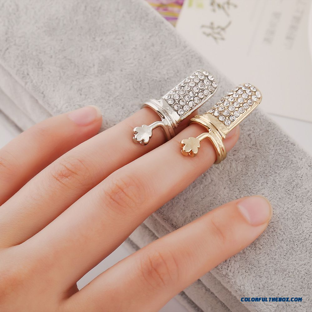 Women Favorite Jewelry Direct Selling Uropean And American Foreign Trade Popular Full Drill Plum Blossom Nail Ring