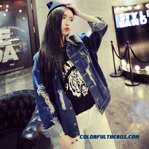 Women Free Shipping Long-sleeved Loose With Hole Jeans Short Coat