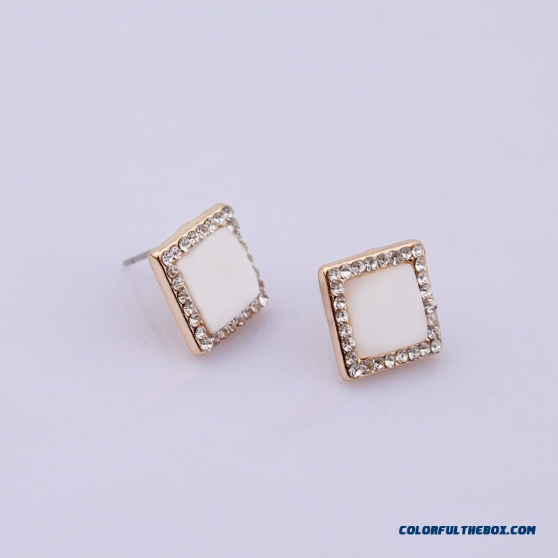 Women Golden Square Opal Diamond Earrings Jewelry Wholesale