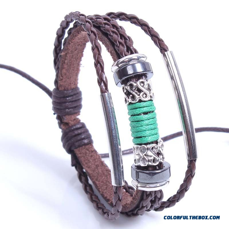 Women Hand Made Leather Bracelet Three String Of Beads Bracelets Snake Pu Leather Jewelry - more images 1