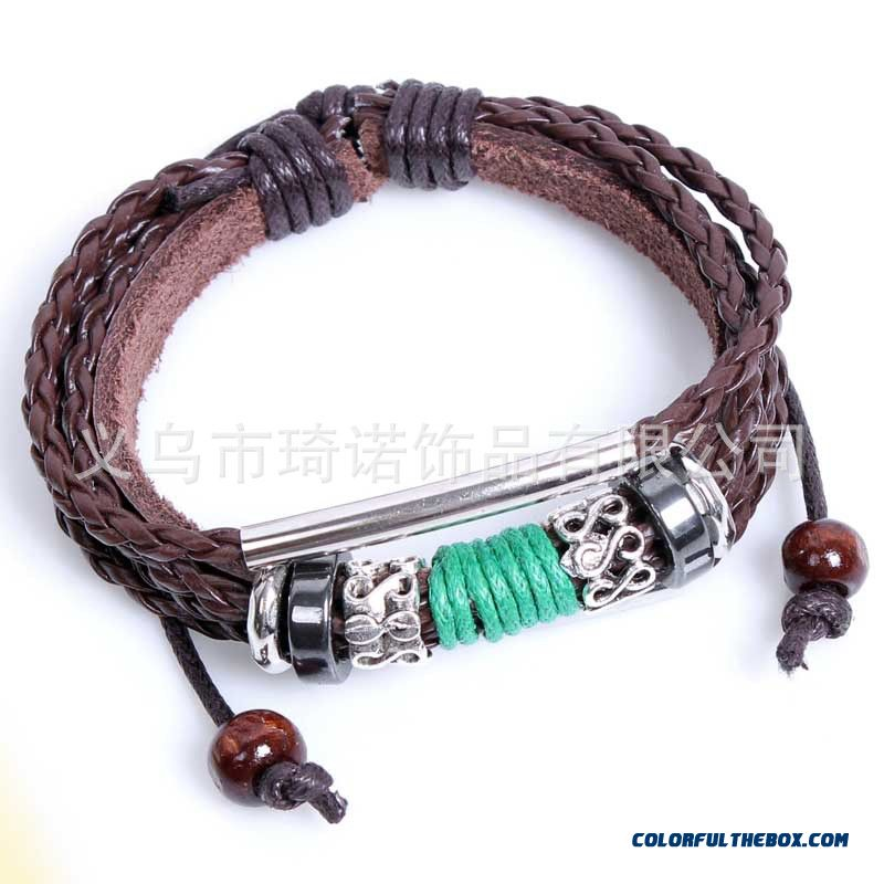 Women Hand Made Leather Bracelet Three String Of Beads Bracelets Snake Pu Leather Jewelry - more images 3