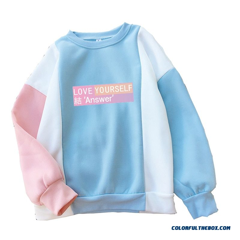 Women Harajuku Hoodies Autumn Bangtan New Album Love Yourself Answer Sweet Color Block Patchwork Hooded Sweatshirts Dropship