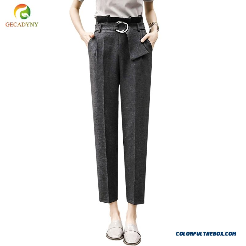 Women High Waist Ol Harem Pants Women Belt Summer Style Casual Pants Female 2018 New Grey Khaki Solid Trousers Work Wear