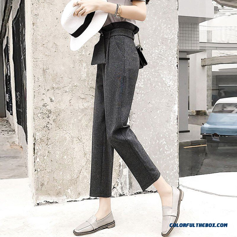 Women High Waist Ol Harem Pants Women Belt Summer Style Casual Pants Female 2018 New Grey Khaki Solid Trousers Work Wear - more images 1
