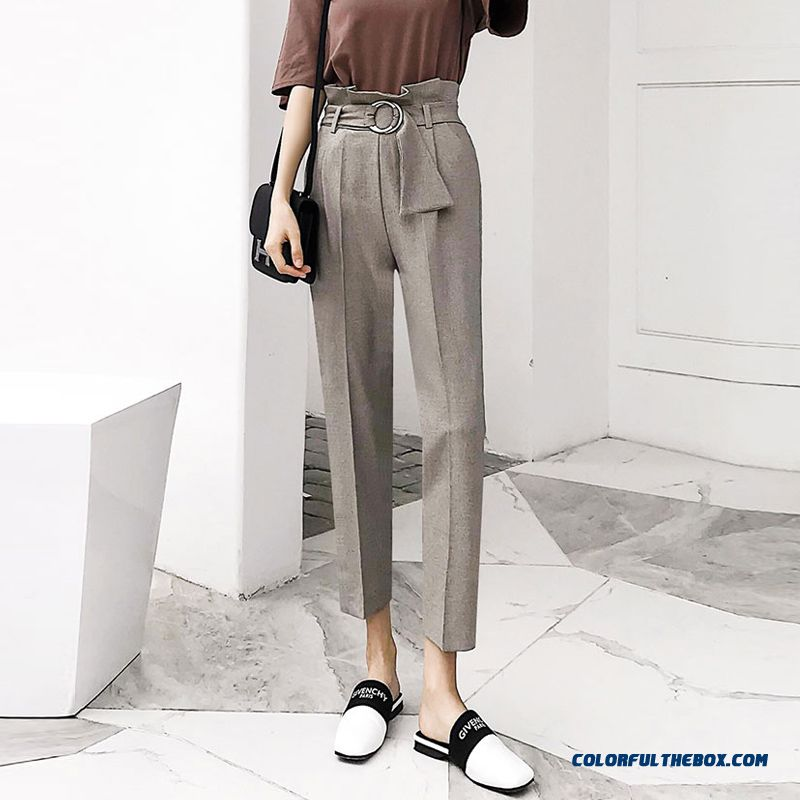 Women High Waist Ol Harem Pants Women Belt Summer Style Casual Pants Female 2018 New Grey Khaki Solid Trousers Work Wear - more images 2