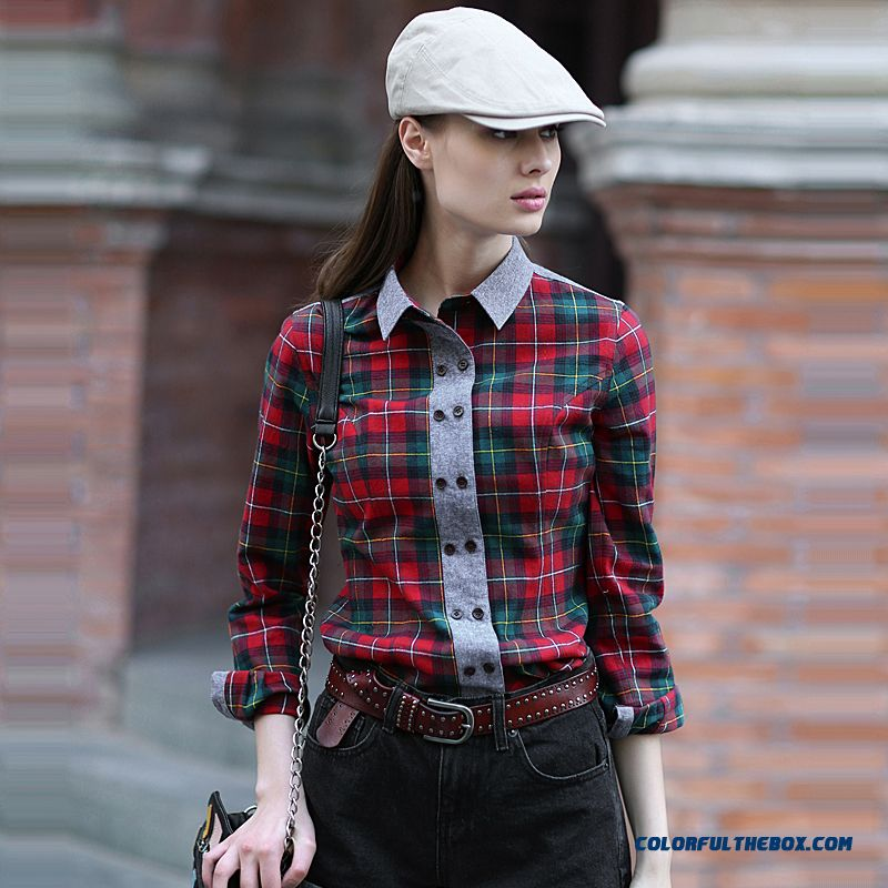 Women Hit Color Fabric Double-breasted Design Stitching Slim Long-sleeved Plaid Shirt
