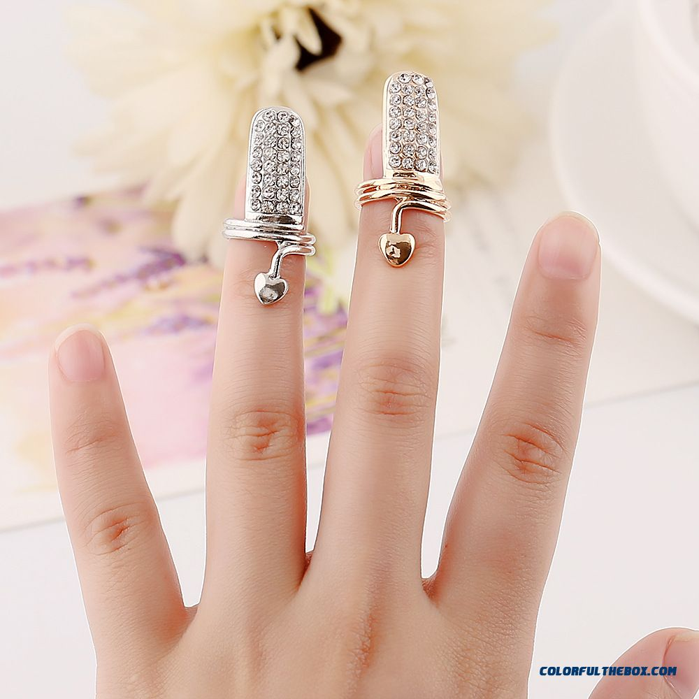 Women Jewelry Europe And The Trend Of Fashion Personality Flash Diamond Peach Heart Nail Ring