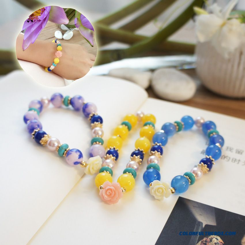 Women Joy Natural Stone Agate Rose Bracelet Jewelry Free Shipping Bangles