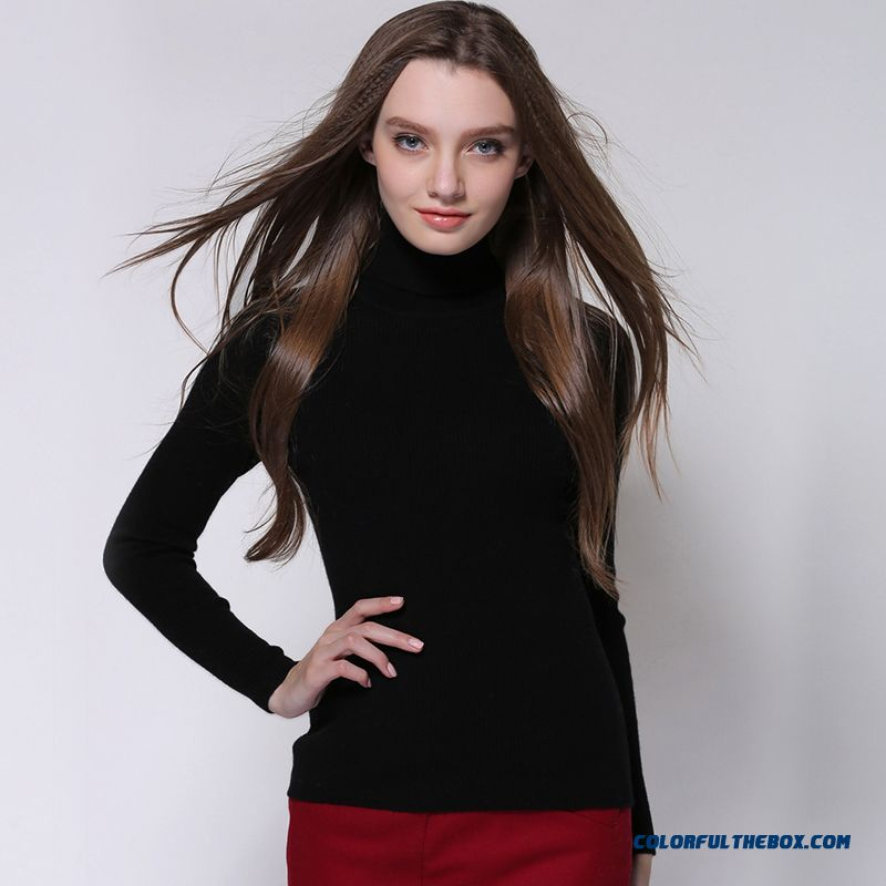 Women Knitted Sweater Slim High Neck Pull Blouson Bottoming Shirt Long Sleeve 100% Wool