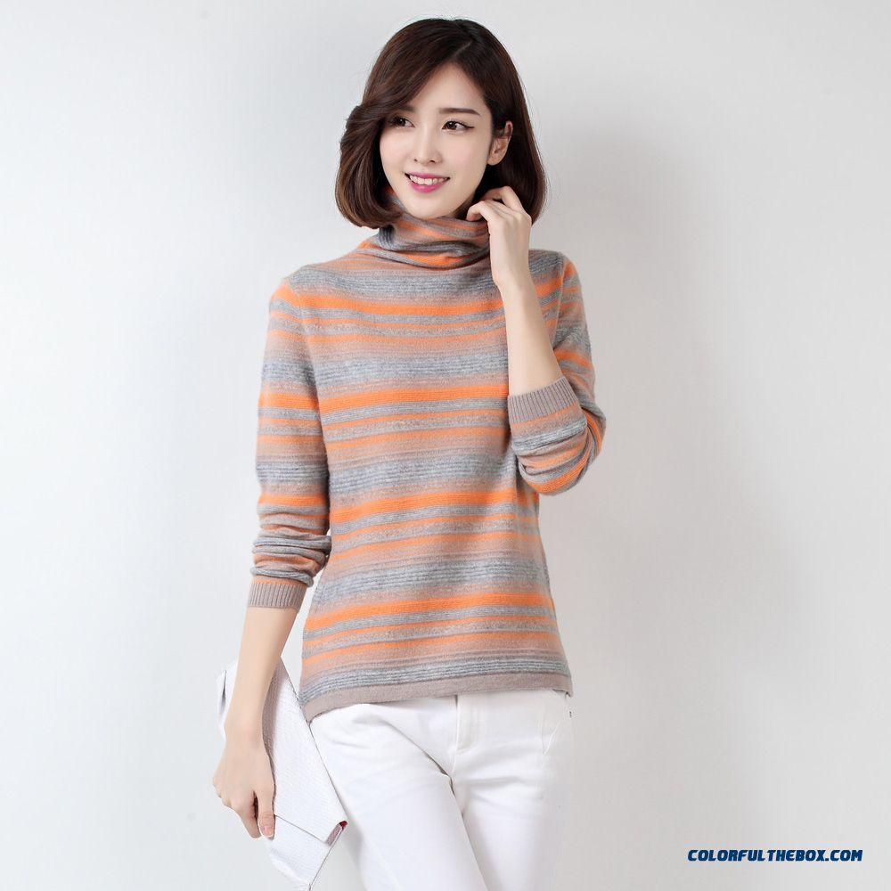 Women Knitted Sweater Wool Warm High Neck Pull Blouson Bottoming Shirt
