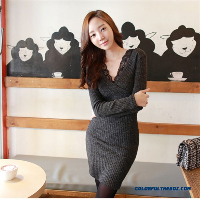 Women Lace Stitching Slim V-neck Knit Dress Package Hip Dress Fine Fabrics