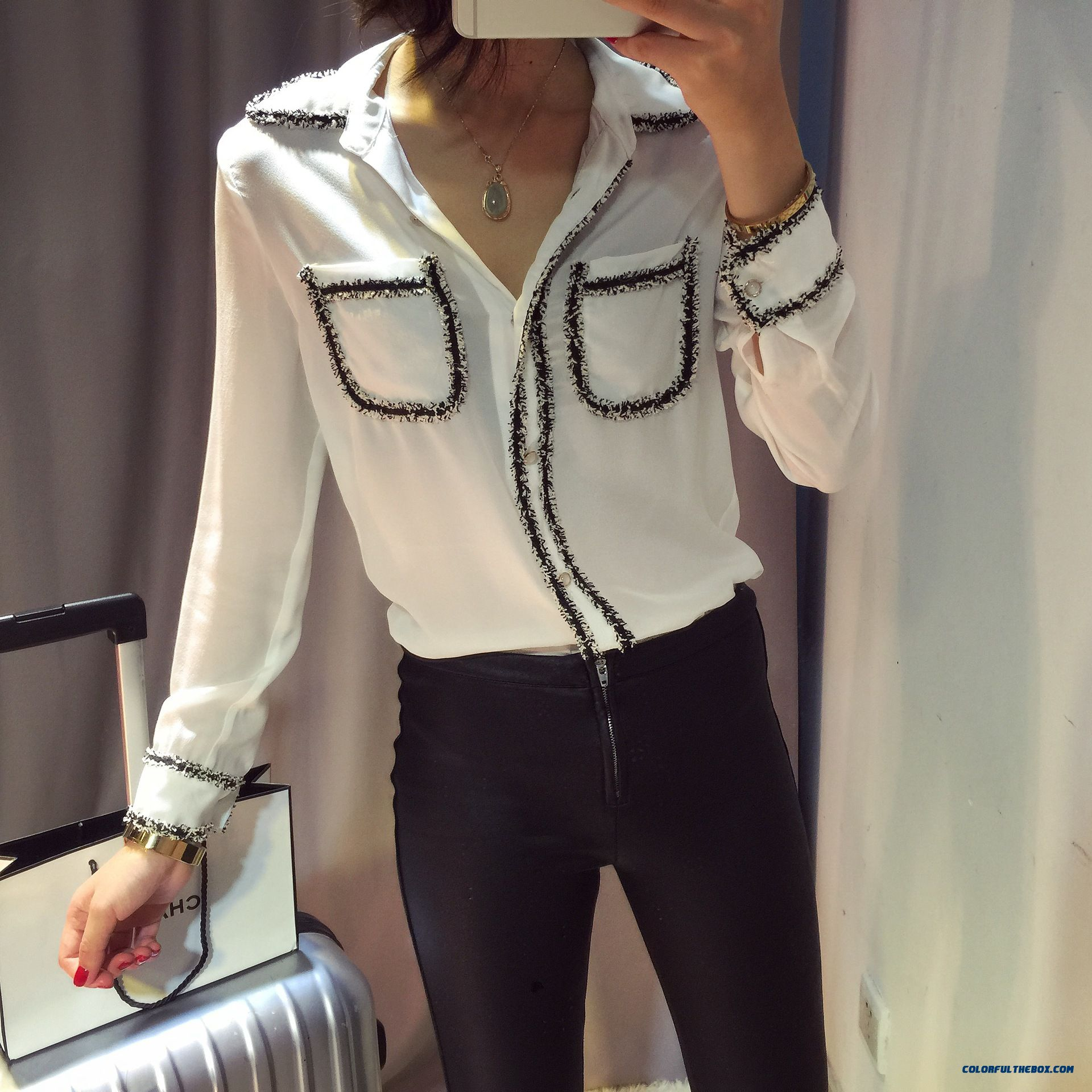 Women Ladies Clothing Slim And Thin Silk Shirts High-quality Blouses