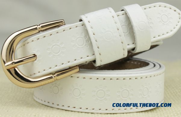 Women Leather Sun Pattern Embossed Belts Ladies Leisure All-match Fashion Pin Buckle Waistband Pure Leather Women Decorated Accessories