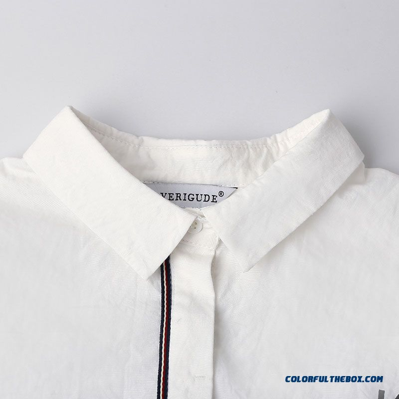 Women Letters Printed Ribbon Decoration Placket Hit Color Slim Thin Long-sleeved Shirt - more images 3