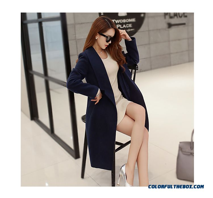 Women Long Coat Slim Woolen Coat Winter Korean Version Of The Red Grey Coat