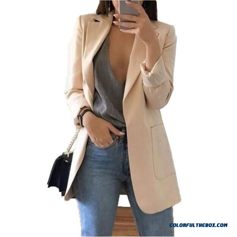 Women Long Sleeve Solid Color Turn-down Collar Coat Ladies Business Suit Cardigan Jacket Suit Blazer Top