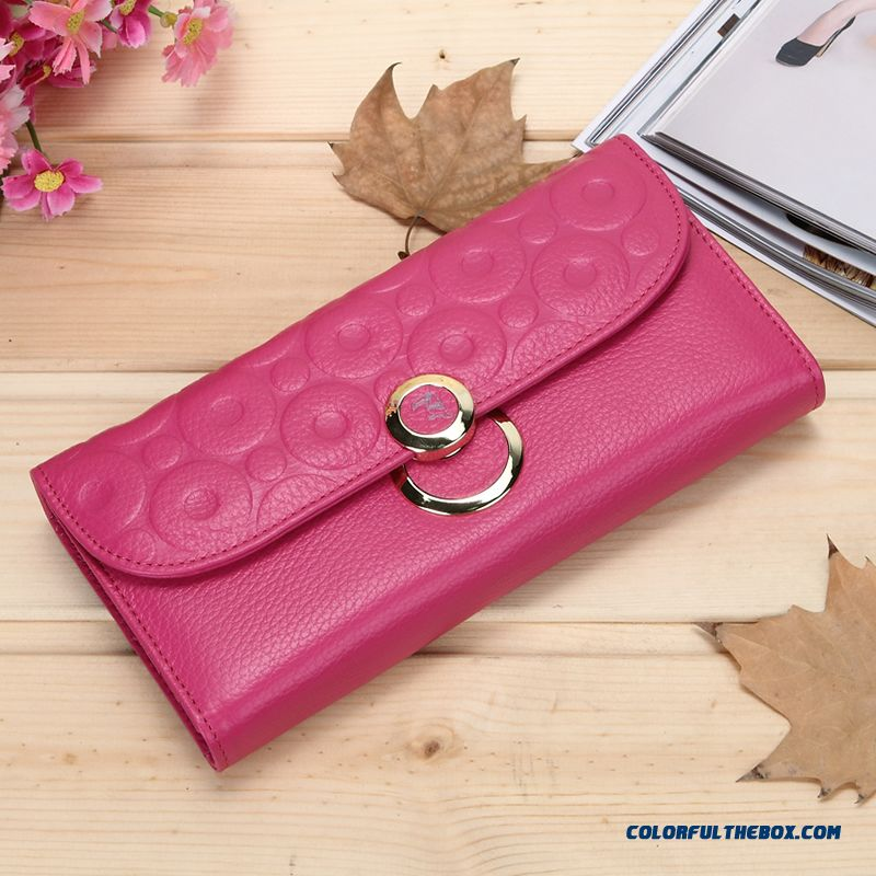 Women Long Wallet Genuine Leather Wallet Three Fold The First Layer Of Leather Purse Bags