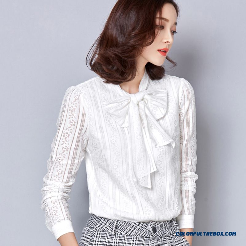Women Long-sleeve Shirts Standing Collar Blouse Fashionable Plaid Printing Fine Lace Skin-friendly Fabrics