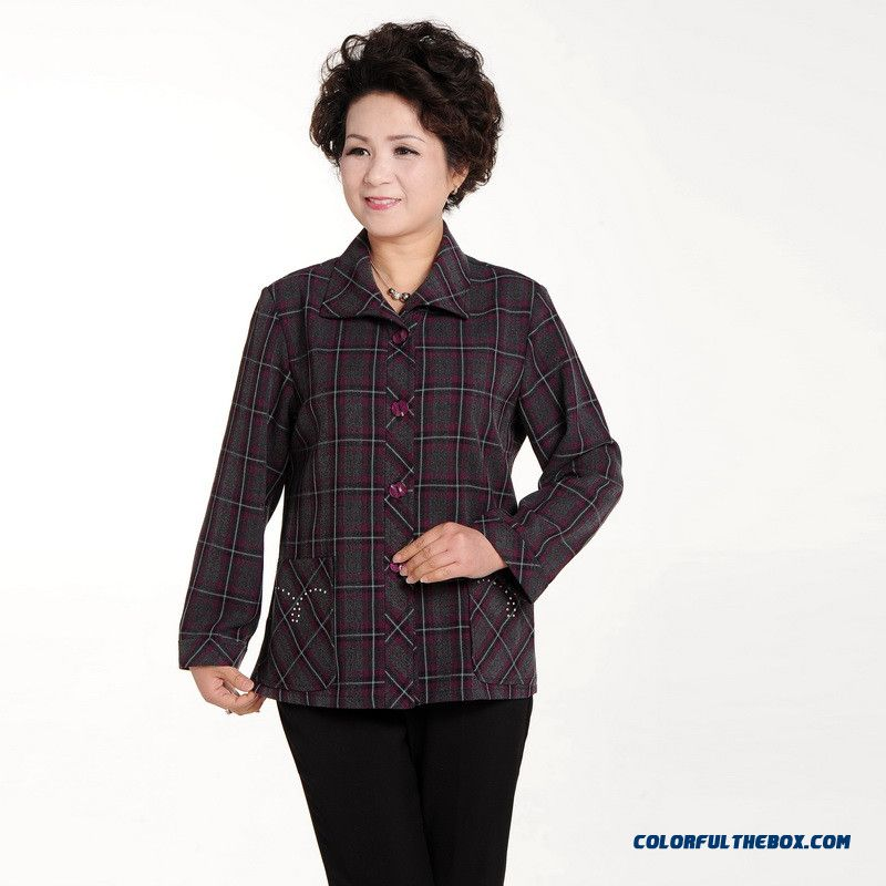 Women Long-sleeved Jacket Middle-aged Women's Plus Size Shirt