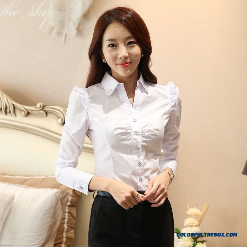 Women Long-sleeved Shirt Large Size Of Korean Vertion Slim Cotton Blouses