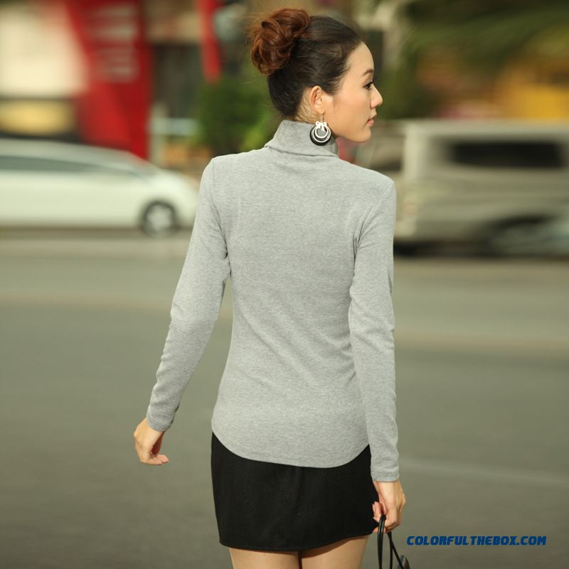 Women Long-sleeved T-shirt Slim Large Size Women's High-necked Cotton Spring Clothing