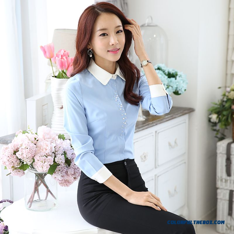 Women Long-sleeved White Shirt Slim Lady Bottoming Shirt Ol Business Attire Formal Suits Shirt