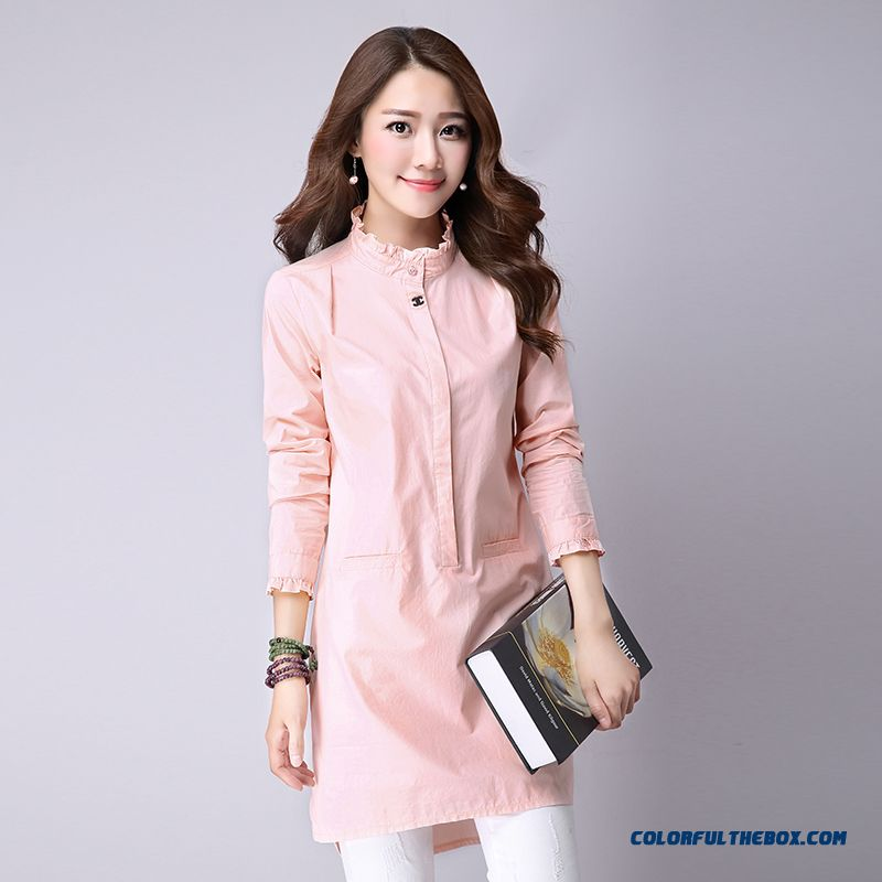 Women Loose Plus Thick Velvet Shirts Medium-long Slim Temperament Shirt Bottoming Shirt