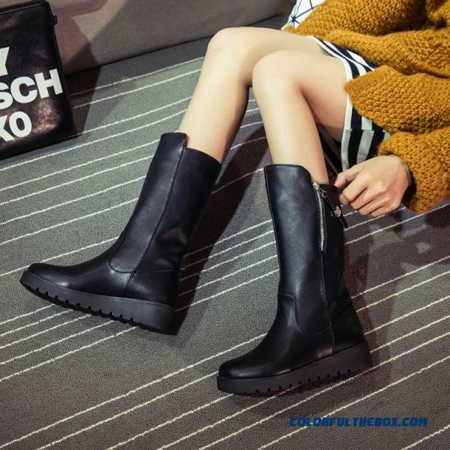 Women Martin Boots Thick Bottom Side Zipper Round Fashionable Shoes