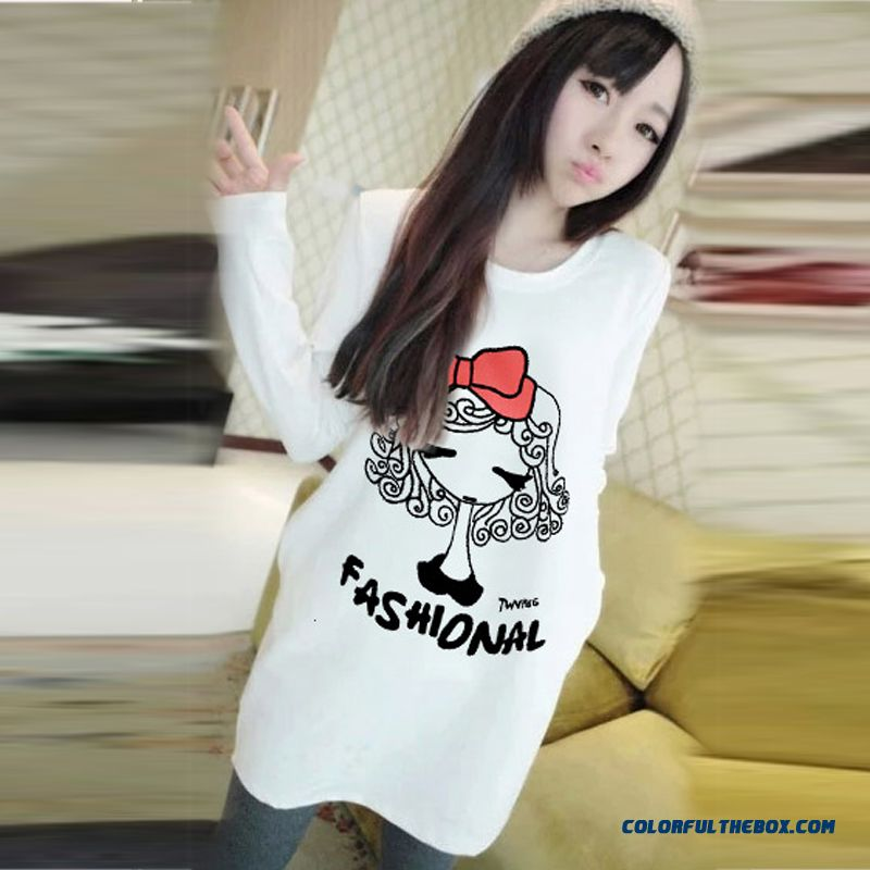Women Medium-long Cartoon Bottoming Shirt Long-sleeved T-shirt Student Wears Outside
