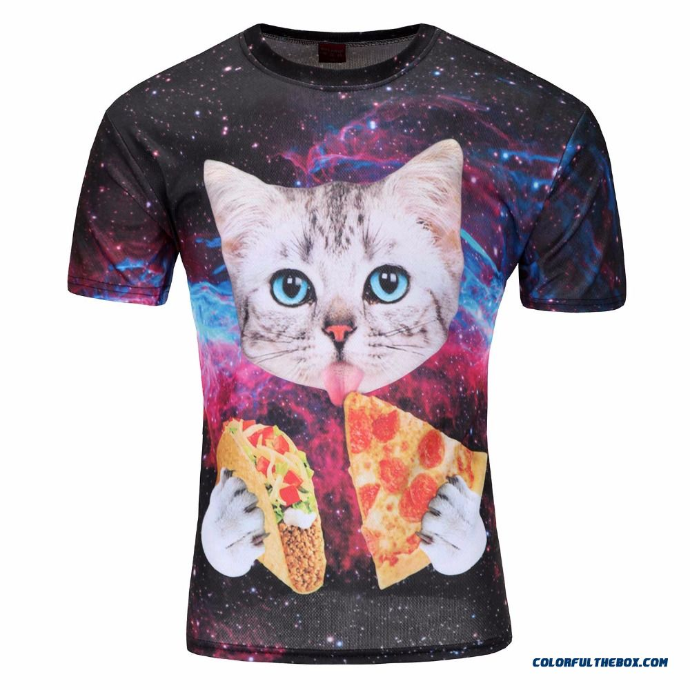 Women Men Summer Style Tee Cat T-shirt Cute Cat With Blue Eyes Eating Tacos Pizza In Space Galaxy T Shirt Tshirt