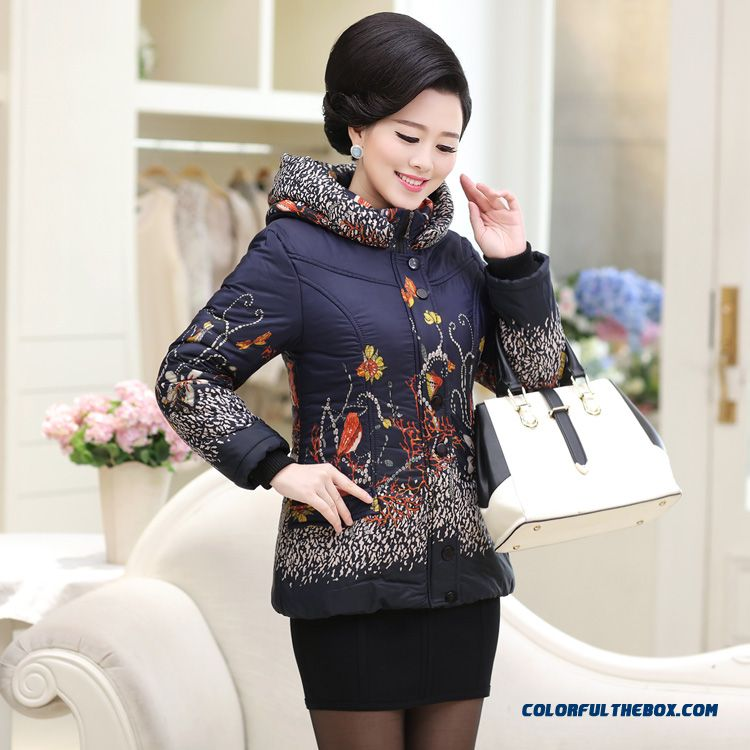 Women Mother Dclothing Coat Padded Printing Jacket Winter