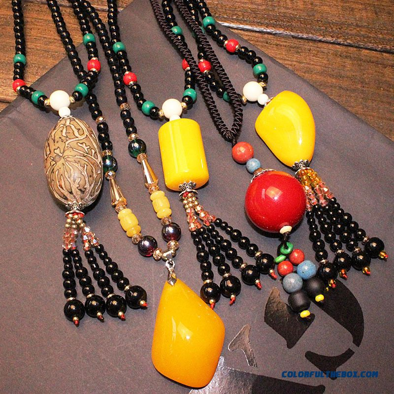 Women New Original Handmade Beaded Vintage One Thousand Bodhiseed Long Necklace Sweater Chain Jewelry