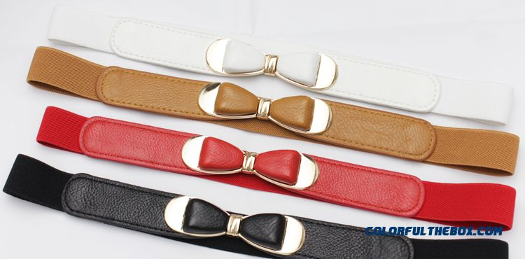 Women Ornamental Summer New Bow Belt Ladies Simple Style Thin Elastic Belts Accessories Top Sale