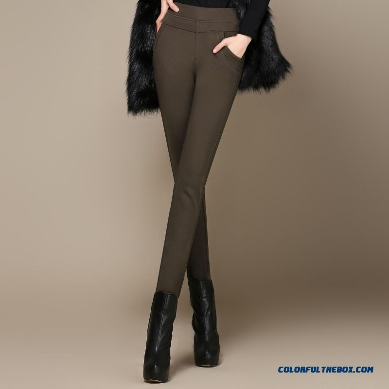 Women Pants Plus Velvet Thick Elastic Waist Elastic High Waist And Thin Bottoming Casual Large Size