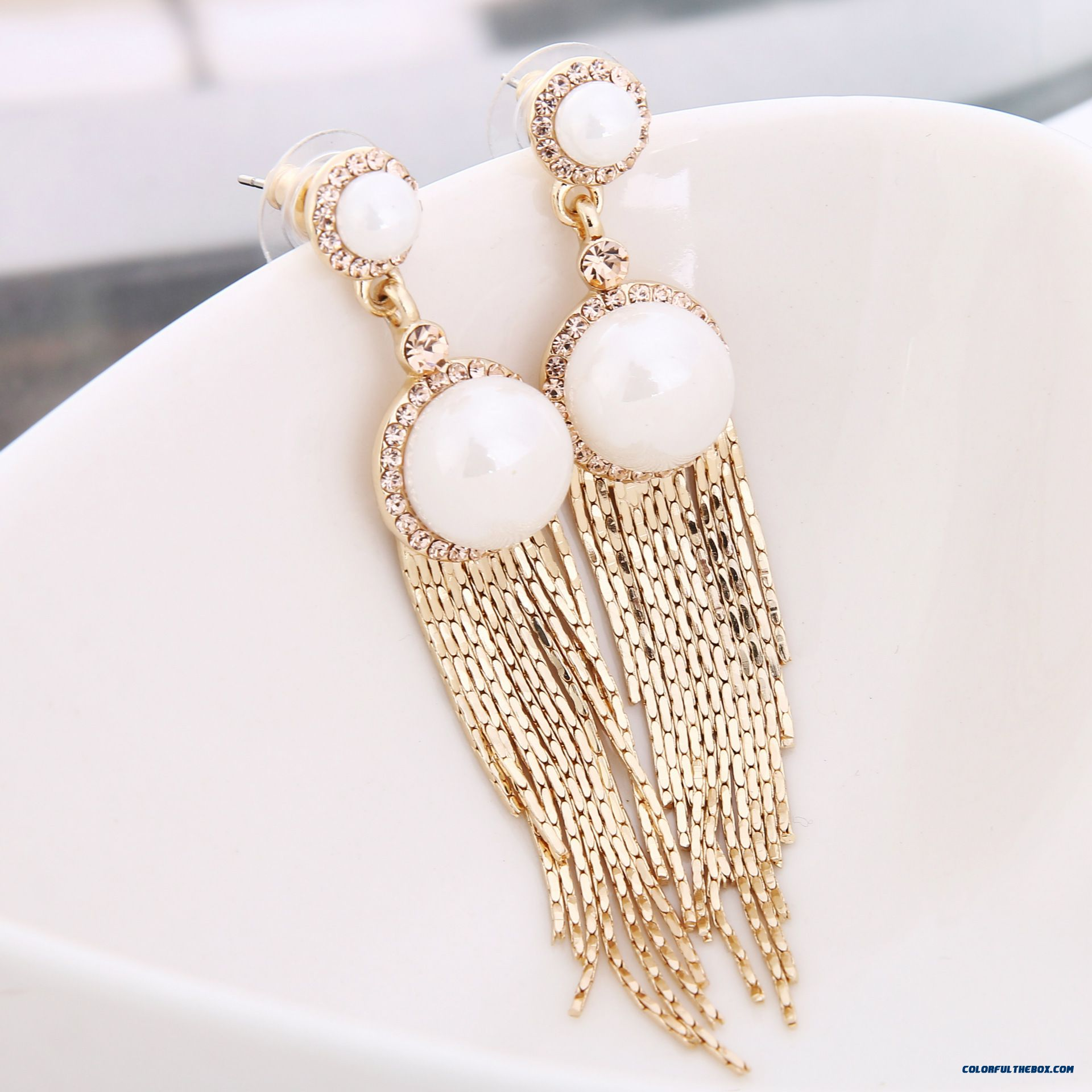 Women Pearl Tassel-shaped Stud Earrings Gold-plated Hypoallergenic Jewelry Factory Direct Supply Earrings