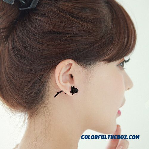 Women Personalized Rose Flowers After Button Style Earrings Ear Jewelry Wholesale - more images 1