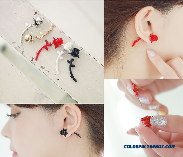 Women Personalized Rose Flowers After Button Style Earrings Ear Jewelry Wholesale - more images 2