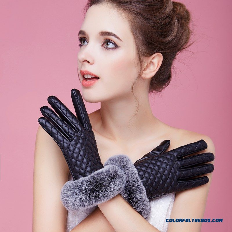 Women Pu Leather Gloves Touchscreen Faux Wool Rabbit Women's Cycling Cold-proof Mittens