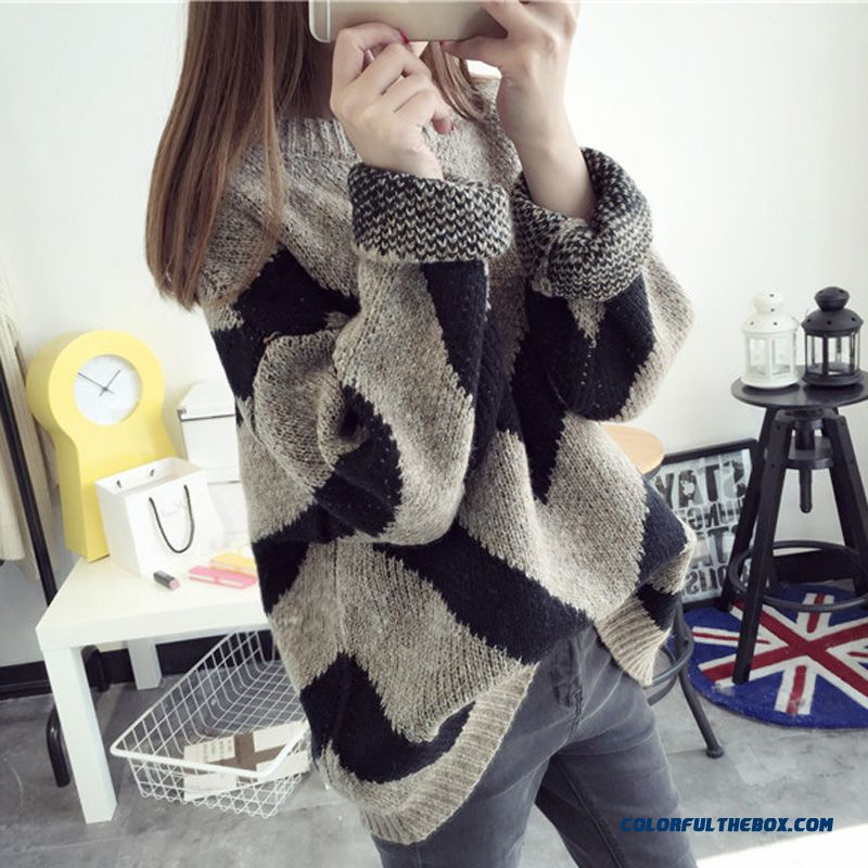 Women Pull Blouson Sweater High Neck Thick Bottoming Shirt Loose Fashion Coat